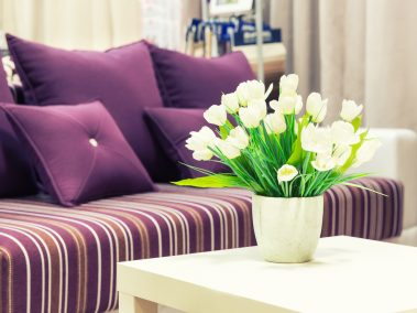 Flowers in a vase against sofa with velvet pillows